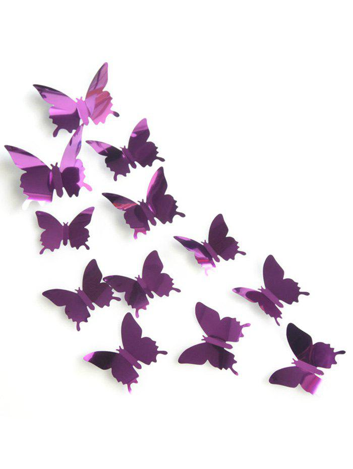 12 Pcs / Set Miroir Plan 3D Papillon DIY Wall Sticker