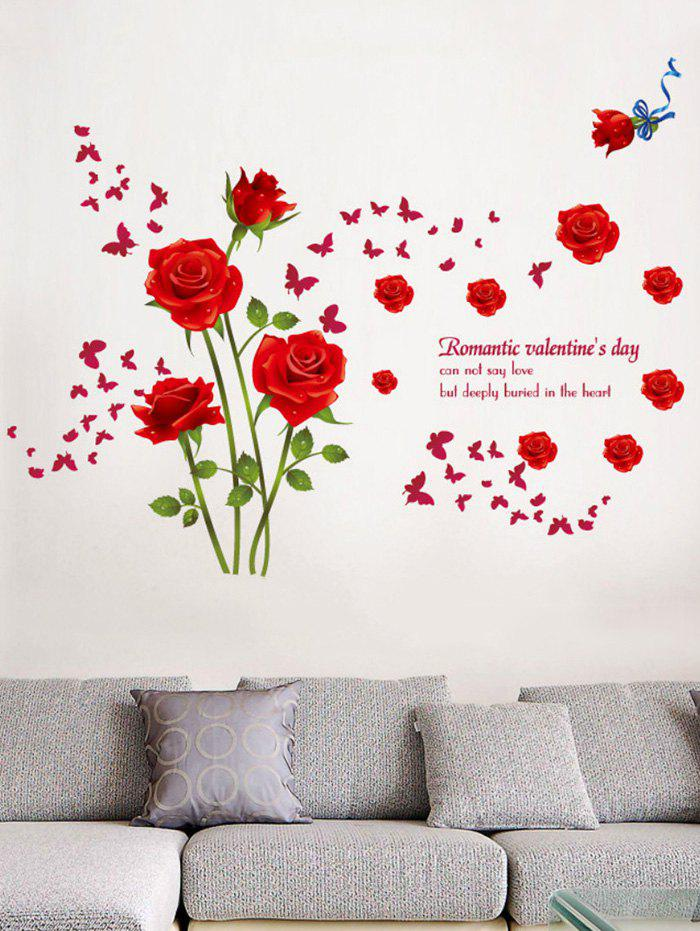 Buy Rose Flower Leaf Butterfly Printed Wall Sticker