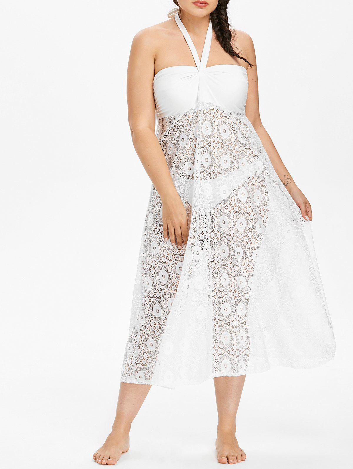 Cheap Plus Size Lace Overlay Cover-up Dress