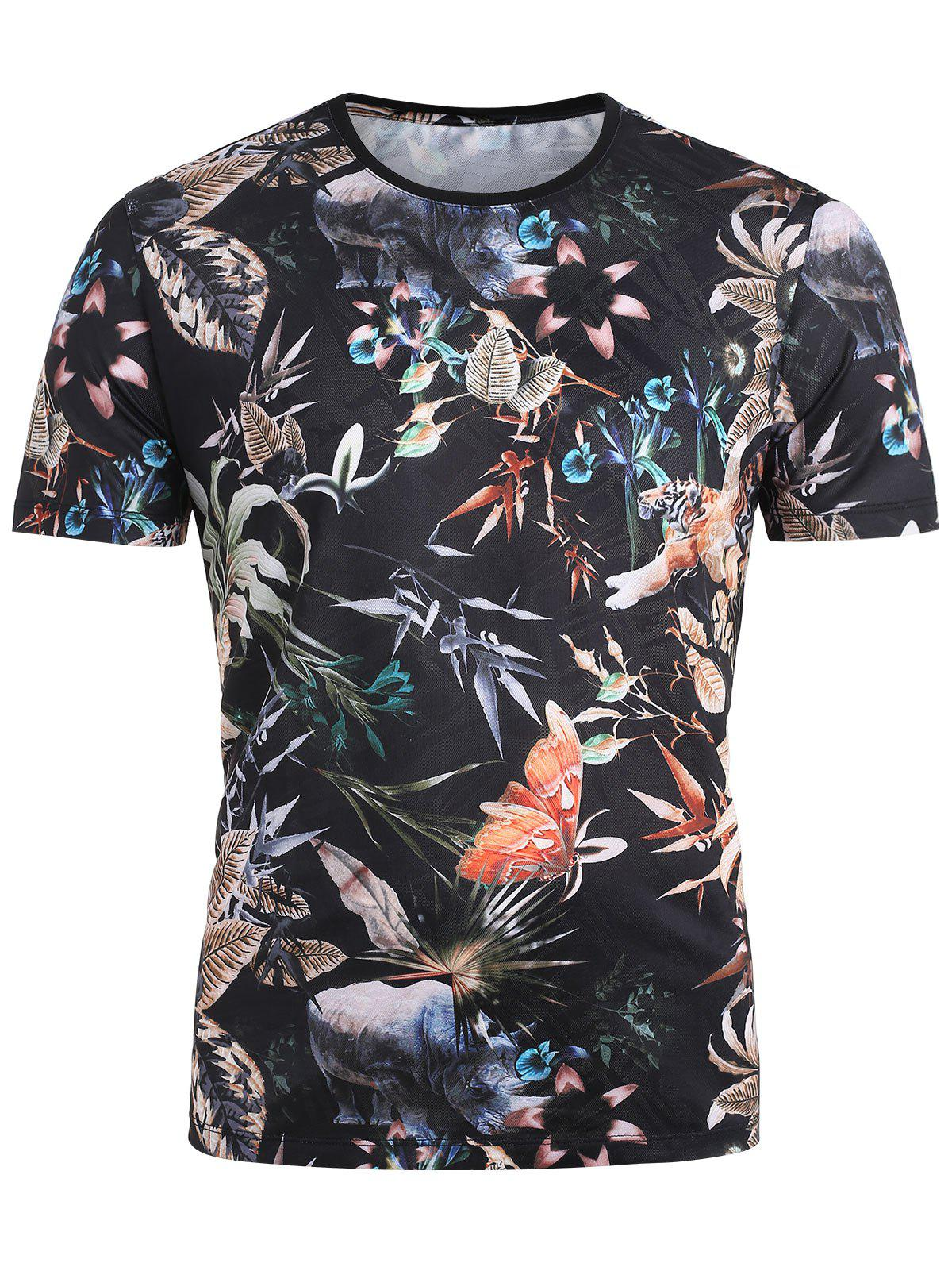 Trendy Rainforest Plants and Animals Printed Breathable T-shirt
