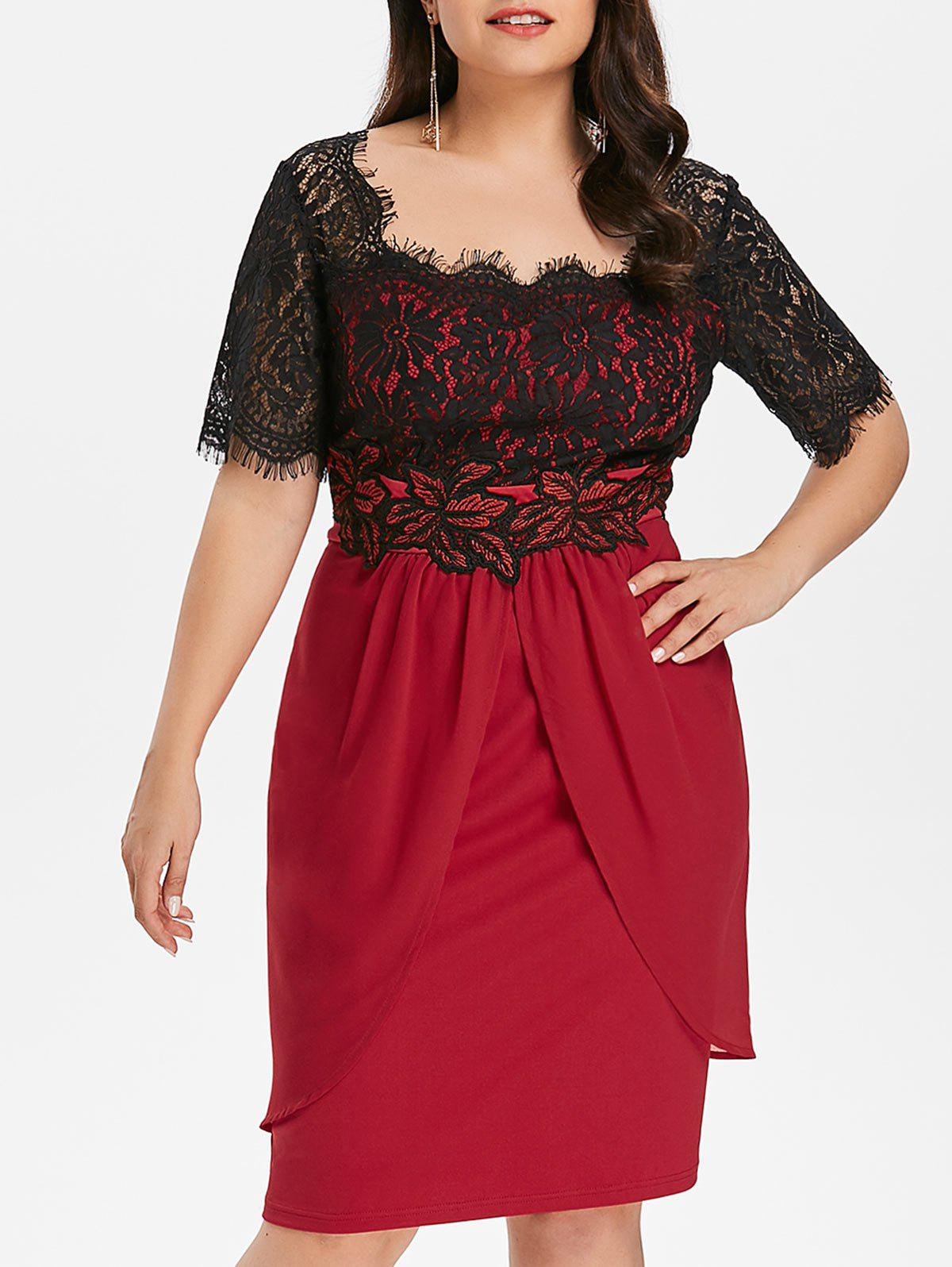 9f408cc44856 29% OFF] Plus Size Eyelash Lace Trim Knee Length Dress | Rosegal