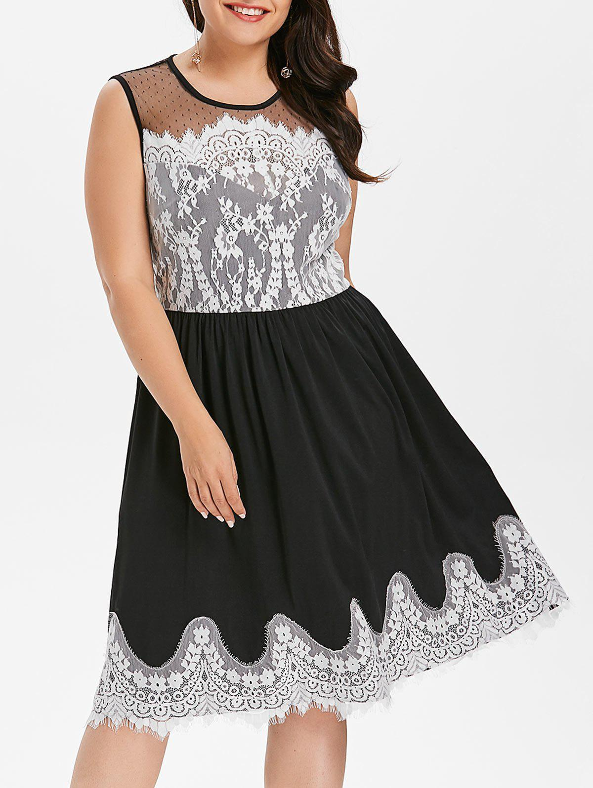 New Plus Size Sheer Yoke Eyelash Lace Trim Dress