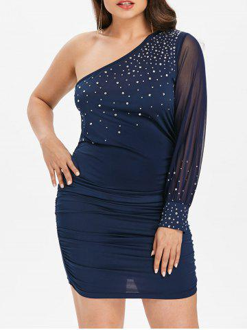 Trendy Plus Size Shimmery One Shoulder Dress