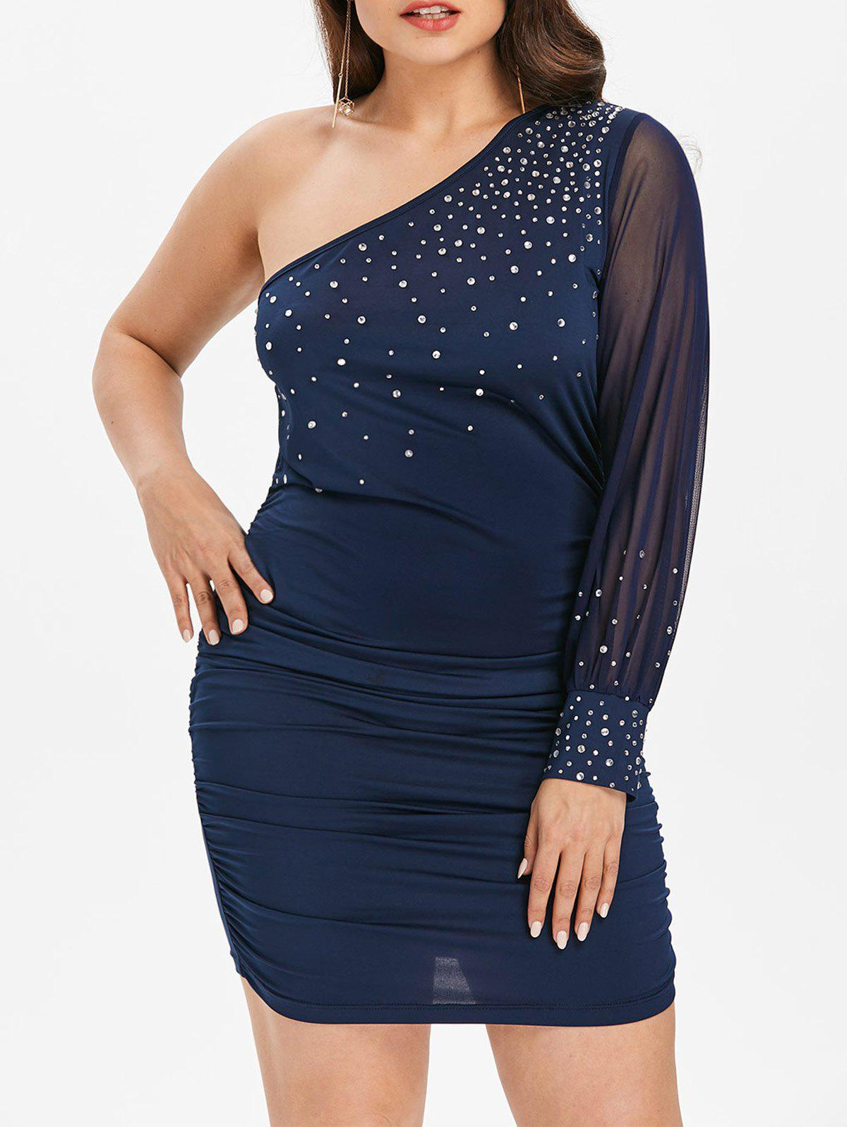 Affordable Plus Size Shimmery One Shoulder Dress