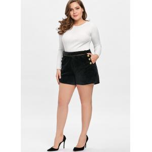 Double Breasted Button Plus Size Velvet Shorts -