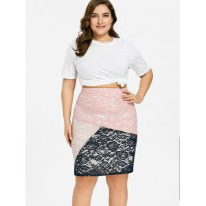 Plus Size Floral Lace Tight Skirt -