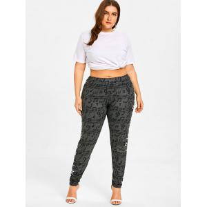 Musical Notes Allover Plus Size Casual Pants -