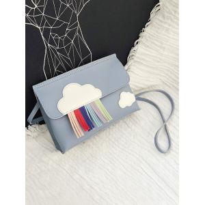 Casual Fringes Flapped PU Leather Crossbody Bag -
