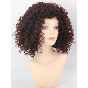Medium Side Bang Afro Kinky Curly Colormix Synthetic Wig -