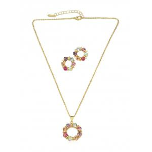 Rhinestone Plated Chain Necklace with Stud Earrings -