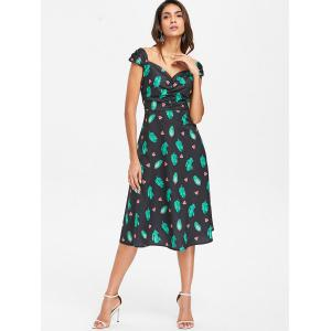 Ruched Watermelon Tropical Cactus Dress -