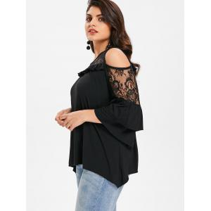 Flare Sleeve Lace Panel Plus Size Top -