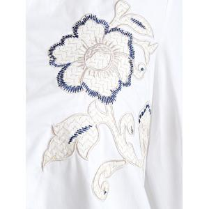 Floral Embroidery Button Front Mini Shirt Dress -