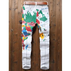 Map Letter Print Zipper Fly Jeans -