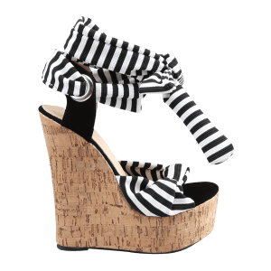 Know Wedge Heel Striped Ankle Strap Sandals -