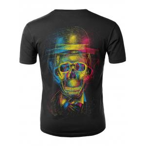 3D Skull with Hat Print Casual T-shirt -