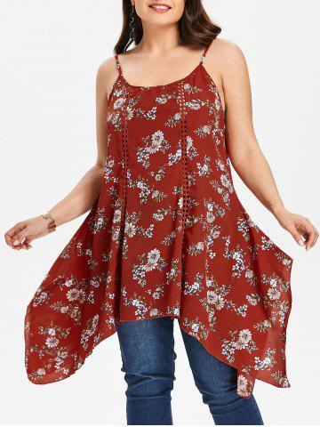 New Plus Size Flower Handkerchief Tank Top