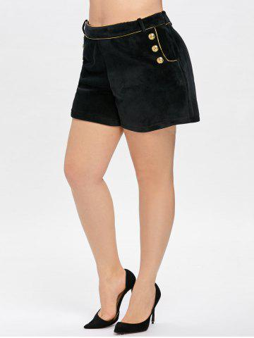 Outfit Double Breasted Button Plus Size Velvet Shorts