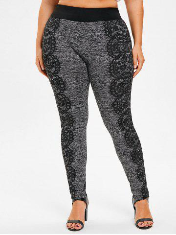 Latest Lace Print Plus Size Fitted Pants