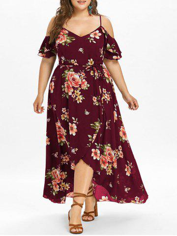 Discount Plus Size Hawaiian Cold Shoulder Maxi Dress