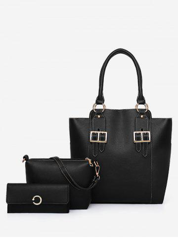 Shops PU Leather Buckles Minimalist 3 Pieces Shoulder Bag Set