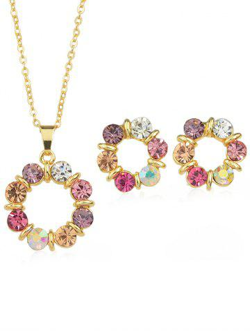 Hot Rhinestone Plated Chain Necklace with Stud Earrings
