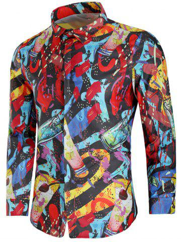 Affordable Paint Drinks Print Long Sleeve Shirt