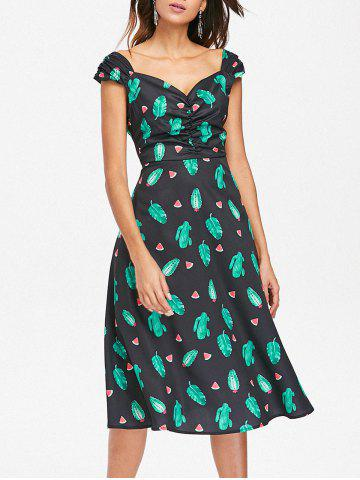 Chic Ruched Watermelon Tropical Cactus Dress