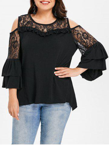 Cheap Flare Sleeve Lace Panel Plus Size Top