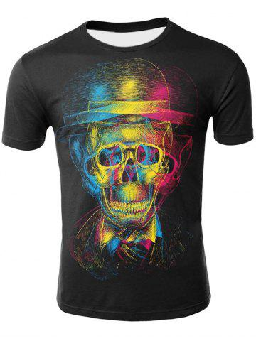 Cheap 3D Skull with Hat Print Casual T-shirt