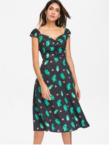 Ruched Watermelon Tropical Cactus Dress