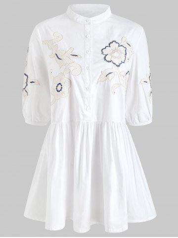 Floral Embroidery Button Front Mini Shirt Dress