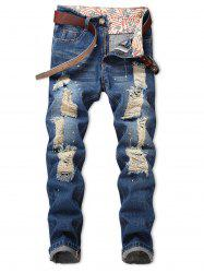 Distressed Destroyed Spatter Paint Print Jeans -