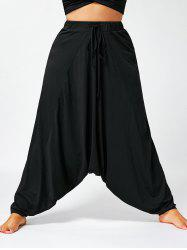 Drawstring Plus Size Drop Bottom Harem Pants -