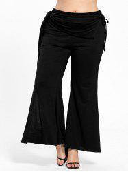 Plus Size Elastic Waist Bell Bottom Slit Pants -