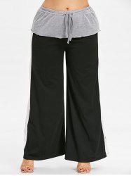 Layered Plus Size Wide Leg Pants -
