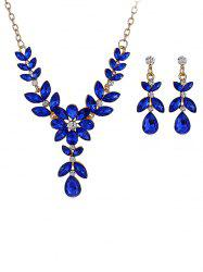 Water Drop Shaped Flower Decorations Rhinestone Necklace with Earrings -