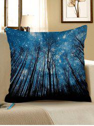 Starry Sky Forest Print Decorative Linen Sofa Pillowcase -