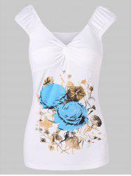 Twist Knot Flower Print T-shirt -