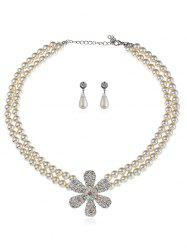 Rhinestone Floral Faux Pearl Beaded Wedding Jewelry Set -