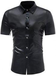 Metallic Shiny Button Up Shirt -