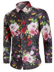 Long Sleeve Paint Flower Print Shirt -