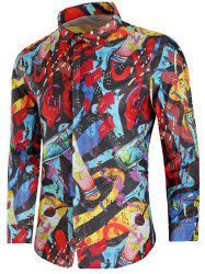 Paint Drinks Print Long Sleeve Shirt -