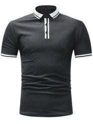 Stripe Trim Short Sleeve Polo T-shirt -