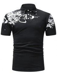 Half Button Paint Splash Polo T-shirt -