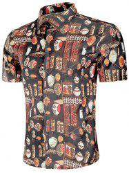 Chemise Style Chinoiserie avec Bouton Caché -