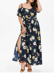Plus Size Floral Slit Belted Dress -