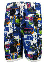 Figure Print Drawstring Hem Pockets Board Shorts -
