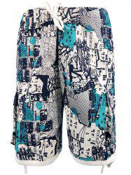 Drawstring Hem Four-pocket Board Shorts -
