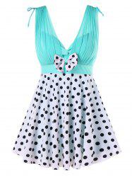 One-piece Polka Dot Skirted Swimwear -